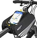 VUP Bike Front Frame Bag, Universal Bicycle Handlebar Bag, Top Tube Bike Bag with 360° Rotation Phone Holder for iPhone 12/Pro/12 Pro max/12 mini/11 Pro/XS max/XR/X/7/8 Plus, 4.0''~6.7'' Cellphones