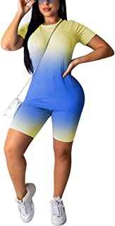 Womens Casual 2 Piece Outfit - Gradient Short Sleeve T Shirt Top + Bodycon Shorts Pant Tracksuit Set Sportwear