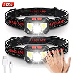 ☼【Sensor Motion Hands-Free Headlamp Flashlight】Free your hands, simply turn ON/OFF the light by waving your hand under the motion sensor mode. The motion detection provides you the convenience you need for any use in the dark. Easily change between m...