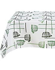 Deconovo Pattern Tablecloth Decorative Rectangle Water Resistant Table Cover for Dining, 60x102 Inch, Lotus Seedpod-Green