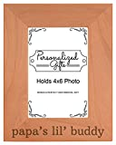 Personalized Gifts Grandpa Gift Papa's Lil' Buddy Grandson Natural Wood Engraved 4x6 Portrait Picture Frame Wood