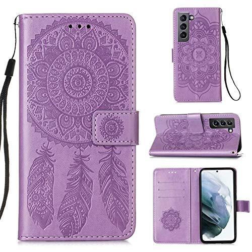 Lijc Compatible con Funda Samsung Galaxy S21 5G Prima PU Cuero Dar La Vuelta Cartera Atrapasueños En Relieve Patrón Caso [Ranura para Tarjetas] [Soporte Plegable] Antigolpes Cubrir-Púrpura