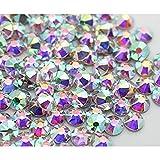 Strass termoadhesivos Hotfix Deluxe Crystal AB, de SS 04 a 40, para tejidos y decoración,...
