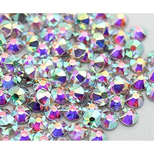 Strass Termoadesivi Hotfix Deluxe Crystal Transparent- Crystal AB, da SS 04 a 40 per Tessuti e decori, Brillantini, Rhinestones (SS 16 100pz, Crystal AB)