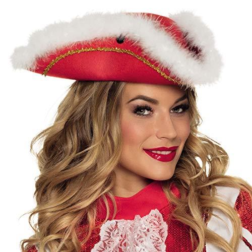 NET TOYS Schicker Dreispitz-Hut Tanzmariechen - Rot - Stylische Damen-Kopfbedeckung Piratenhut mit Federn - EIN Blickfang für Fasching & Karneval