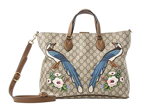 Fashion Shopping Gucci GG Supreme Peacock Brown Tote Leather Floral Bag Bird Handbag Ebony New