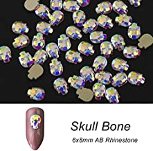 Nail Rhinestones And Charms, Nail Art Rhinestones, Nail Gems And Rhinestones - 10pcs Crystal Shiny 3D Nail Rhinestones AB Colorful DIY Decor Charms - Skull Bone 6x8mm