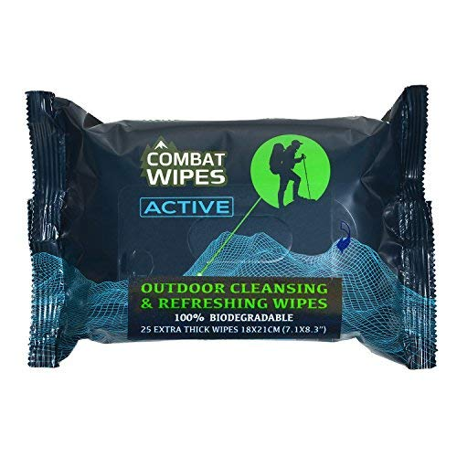 Combat Wipes ACTIVE Outdoor Wet Wipes   Extra Thick, Ultralight, Biodegradable, Body & Hand Cleansing/Refreshing Cloths for Camping, Gym & Backpacking w/ Natural Aloe & Vitamin E (20 packs, 25 wipes each)