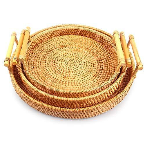 Bandejas de mimbre, cesta de pan, asas, bandeja de servir, cesta de mimbre redonda (3 unidades (grande + mediano + pequeño)