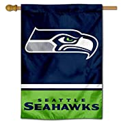 "28"" x 40"" in with 3 Inch Top Pole Sleeve for hanging from your Flagpole or Banner Pole (Pole Accessories Not Included) Made of Double Sided 2-Ply 100% Polyester with Sewn-In Liner, Double Stitched Perimeter Sewing, Imported Screen Printed Seahawks Te..."