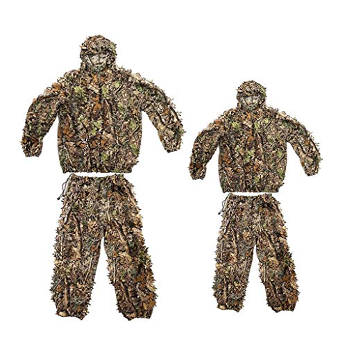 Perfeclan 2Set 3D Leafy Camo Hooded Camouflage Kleidung Ghillie Suits Jagdjacke Hosen