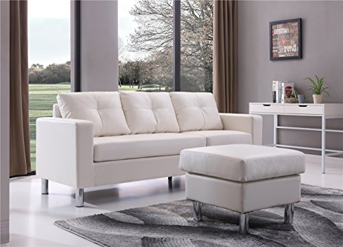 Braxton Small Space Convertible Sectional Sofa, White