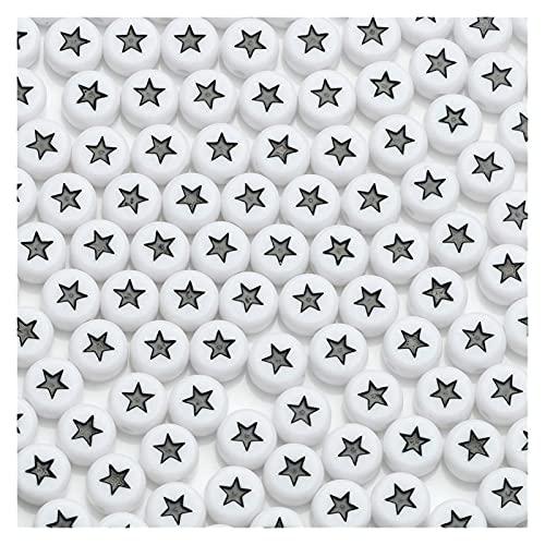 MURUI QZX1 4x7mm Black Letra Granos acrílicos Redondo Plano Estrella Alfabeto Perlas Sueltas para Joyería Haciendo Accesorios DIY Hecho A Mano Pulsera Yc0416 (Item Diameter : 200pc)