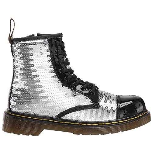 Dr.Martens Kids 1460 Pooch Sequin Patent Lamper Sequins Black Silver Stivali 31 EU