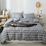 Boqingzhu Bettwäsche Gestreift 155x220cm Grau Weiß Bettbezug mit Reißverschluss Bettwäsche Set 2...