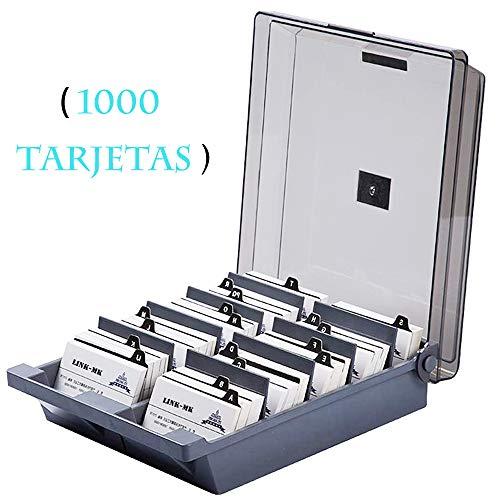 CATEKRO Caja de almacenamiento para portatarjetas de visita de gran capacidad (1000 tarjetas) Índice de clasificación de letras A-Z, 24 x 21.5 x 7 cm