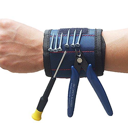 DirkFigge Starke Magnete Armband, Einstellbar Magnetisches Armband, Handgelenk Werkzeughalter...
