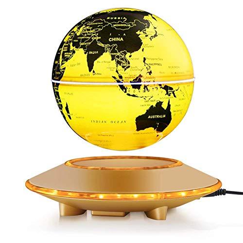 Globo magnético de la levitación, bola flotante de 6 '' que gira la bola antigravedad LED iluminó la tierra del mapa del mundo para la decoración del hogar de la oficina de escritorio (6' 'oro)