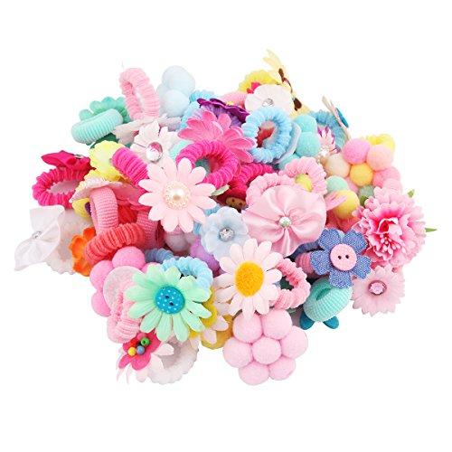 Candygirl Lot Elastique Cheveux Queue de Cheval pour Enfant Fille Mignon Accessoire de Coiffure(50 différents Motif par paquet)