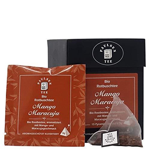 Bio Mango Maracuja 15 x 3g (132,22 Euro / kg) Paulsen Tee Rotbuschtee im Pyramidenbeutel - Bio, rückstandskontrolliert & zertifiziert