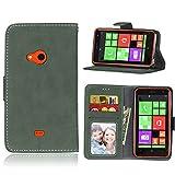 pinlu Hohe Qualität Retro Scrub PU Leder Etui Schutzhülle Für Nokia Microsoft Lumia 625 Lederhülle Flip Cover Brieftasche Mit Stand Function Innenschlitzen Design Grün