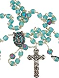 Our Lady Rosary with Blue Catseye Our Father Prayer Beads