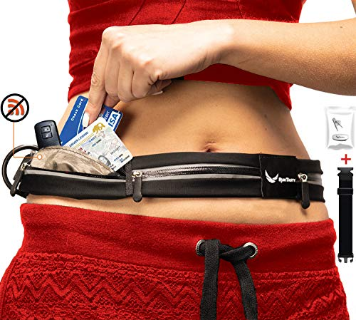 [Voted #1 Running Belt] 3 Pocket Runners Fanny Pack w/RFID Blocking - fits iPhone 6 7 8 8 Plus X 11 12 & Android Samsung. No Bounce, Waterproof, Fitness & Travel Belt! Sleekest, Most Durable in The World!