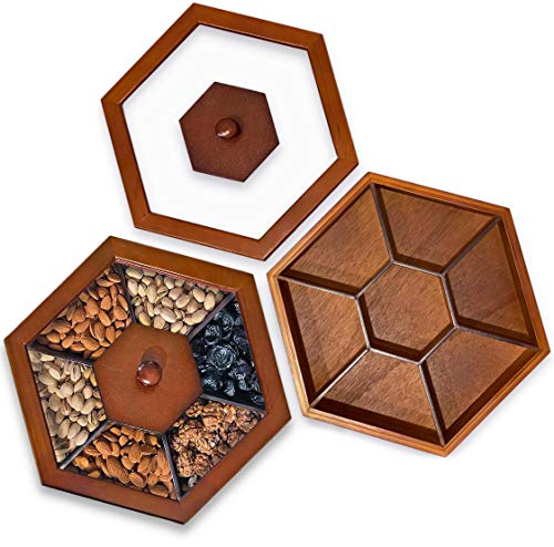 Sectional Tray for Dry Fruits Nuts Snacks with Glass Lid, Humidity proof wooden storage, Candy Box