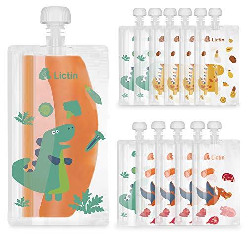 Lictin Bolsa de Alimento Reutilizable para Bebé-12PCS Bolsitas de Comida para Bebé de 210 ml sin BPA PVC para Bebés con Diseño de Patrón