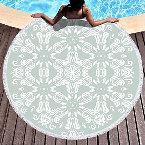 COMBON Shop Toalla de playa redonda de gran tamaño Pow Der azul ultra suave redonda – para camping blanco 59 pulgadas