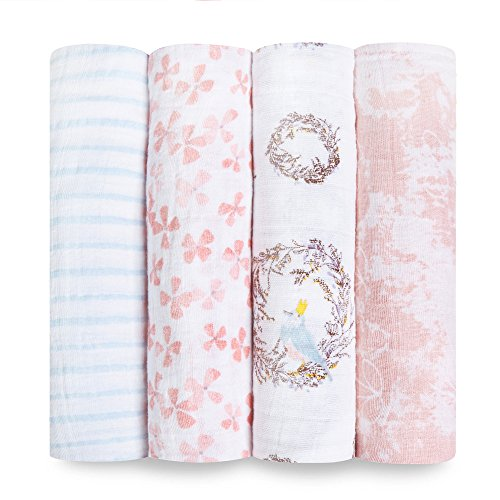 aden + anais Swaddle Blanket | Boutique Muslin Blankets for Girls & Boys | Baby Receiving Swaddles | Ideal Newborn & Infant Swaddling Set | Perfect Shower Gifts, 4 Pack, Bird Song