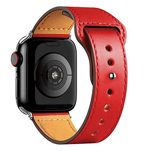 Ternzun Correa de cuero para Apple Satch Band 40mm 42mm 38mm 44mm Accesorios Smartwatch Pulsera iWatch 3 4 5 6 se (42mm o 44mm, rojo)
