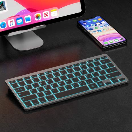 OMOTON aufladbare Bluetooth Tastatur für iPad, beleuchtete kabellose Tastatur für iPad 10.2 2020/2019 (8th Generation), iPad Pro 11/12.9 (2018/2020), iPad Air 3/2/1 und andere iOS Gerät, Space Grau