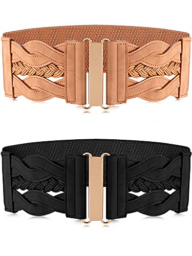 Hercicy 2 Pieces Women's Elastic Retro Belt Stretchy Wide Waist Belt Retro Buckle Belt for Women Dresses Shirts, Black and Khaki