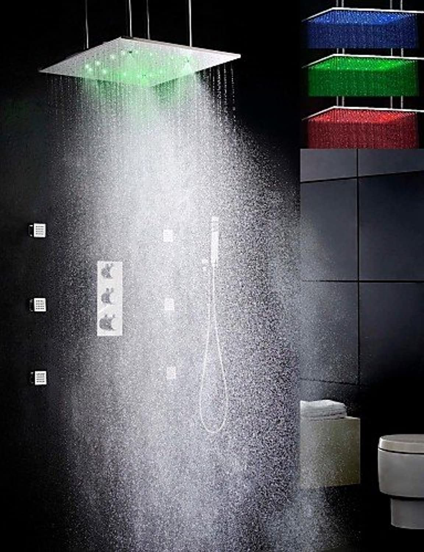 XXTT-Duscharmaturen - Zeitgenssisch - LED   Thermostatische   Regendusche   Seitendüse   Handdusche inklusive - Messing (Chrom)