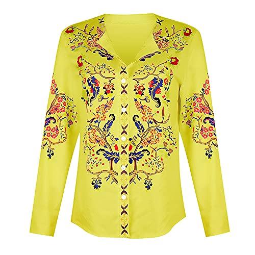 Camisa Mujer Shirt Mujer Cómodo Casual Moda Estampado Floral Manga Larga Primavera Verano Elegante Clásico Mujer Blusa Mujer Tops B-Yellow XXL