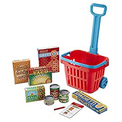 SEVERAL FUN ACCESSORIES: This play grocery set includes five colourfully labeled grocery boxes, three play food cans with pop-off lids, and a double-sided reusable shopping list with a pencil that stores in the side of the basket. MULTIPLE PLAY OPPOR...