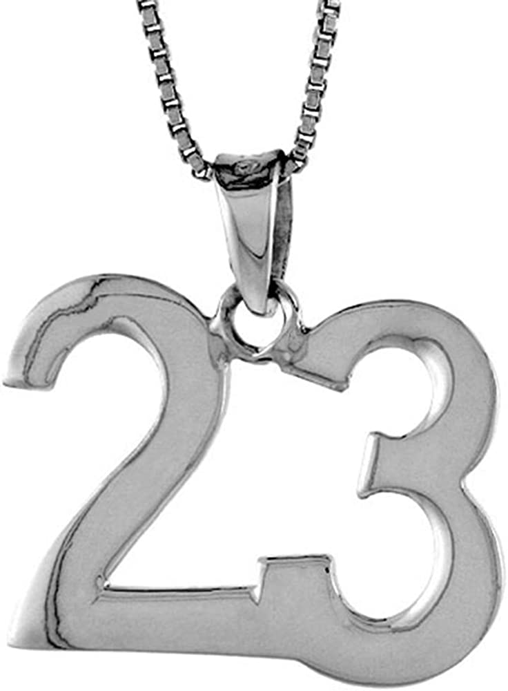 Sterling Silver 大人気 Number 23 Necklace 並行輸入品 for Recovery Numbers Jersey