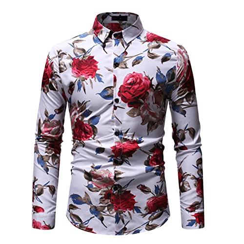 Ocuhiger Camisa De Vestir Clásica De Moda para Hombres Camisa De Negocios Informal De Ajuste Estándar Regular Slim Tops De Manga Larga con Botones Blusa Estampado Floral Blanco