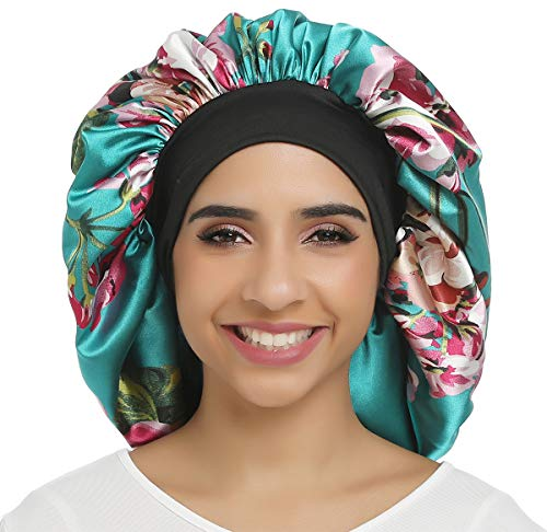 Large Satin Bonnet Double Layer Sleep cap Printing Sliky bonnet Wide Elastic Band for Women Haircare,Curly Natural Long Hair (Double layer-Green flower)
