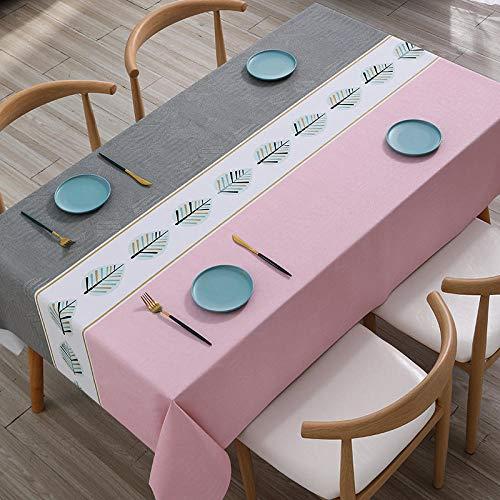 ZXCN Mantel Mesa Rectangular Impermeable Cubremesa Color Brillante Anti Escaldado para de Hogar Picnic del Hotel Tienda de Café Fresno en Polvo 120×170cm