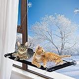 MQUPIN Ventana de Gato Cama de Hamaca, Hamaca para Gatos con Almohadilla de Malla Suave, Cama Gatos con Ventosas de 5 Perillas y Capacidad de Carga de hasta 25 kg(55 LB), Extra una Manta de Franela