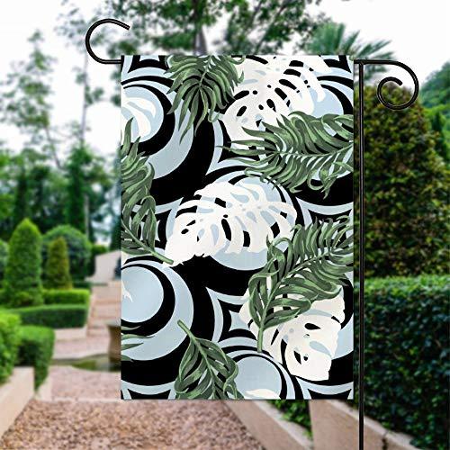Garten-Flagge, 30,5 x 45,7 cm, doppelseitig, für Garten, Außenbereich, Hof, Dekoration, schwarz-weiß, grüne Kiefer, tropische Blätter