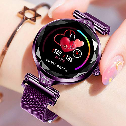 Female Smart Watch Bracelet,Fitness Tracker,Pedometer,Sleep Heart Rate Blood Pressure Monitor Clock Step Calories Distance Smartwatch for Women Compatible for Iphone Android,Best Gift for Lady Girl
