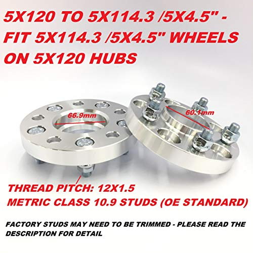 2 Pieces 1' 25mm Hub Centric Wheel Rim Adapters (CHANGE BOLT PATTERN) 5x120 to 5x4.5' 5x120 to 5x114.3 Center Bore 66.9 Thread 12x1.5 For Chevy For New Camaro Malibu LaCrosse Regal CTS xTS Equionx