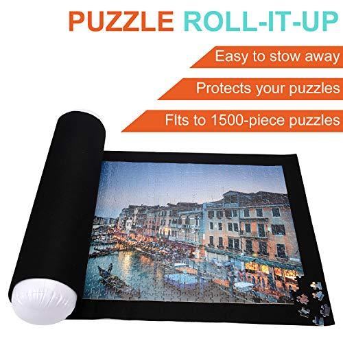 """Puzzle Roll Up Mat, Tunery Puzzle Storage, Jigsaw Puzzle Mat Rollup to 1500Piece Inflatable Tube, 3 Elastic Fasteners, Mini Pump, 46"""" X 24"""" Felt Mat, with Drawstring Storage Bag"""