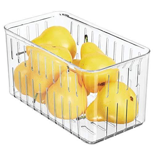 mDesign Organizador de nevera – Práctico organizador de despensa sin tapa – Cajas plásticas organizadoras para alimentos con ranuras laterales de ventilación – transparente