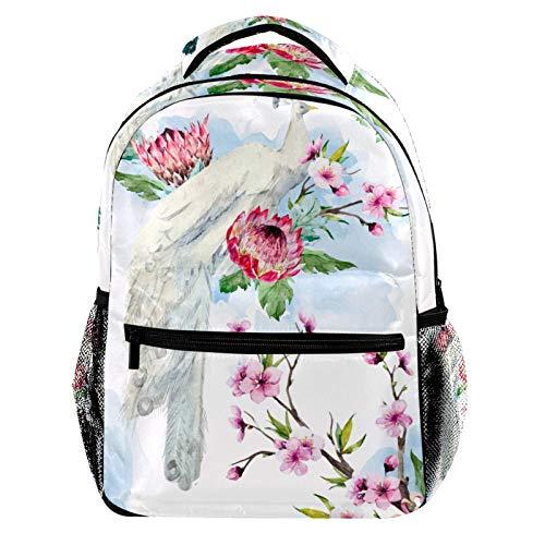 White and Blue Peacock and Pink Flowers Laptop Backpack for Men School Bookbag Travel Rucksack Daypack School Bag for Women Girls