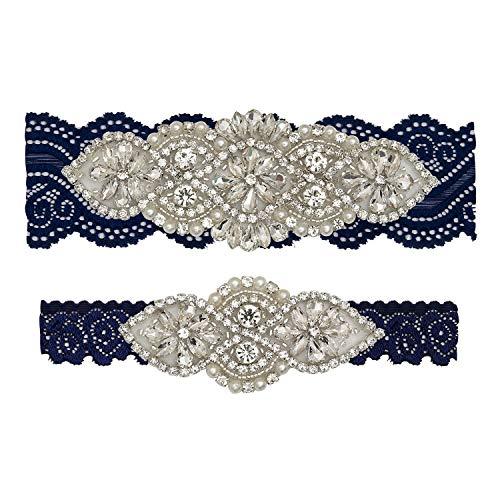 yanstar Wedding Bridal Garter Set White Champagne Navy Lace for Bridal Accessories Rhinestone Garter Lace … (XL:22-23IN, Navy-Silver)
