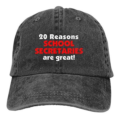 Jopath 20 Razones Secretarios de la Escuela son Grandes Unisex Suave Casquette Cap Moda Sombrero Vintage Ajustable Gorras De Béisbol Moda Negro